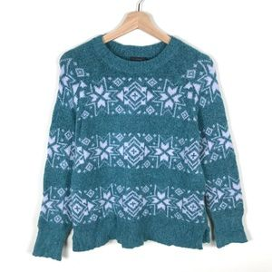 NWT J. Crew Fair Isle Striped Blue Sweater - S